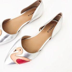 TORRID Silver Flamingo Flats Size 9W